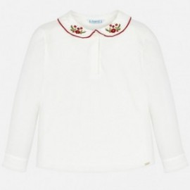 Mayoral 4118-24 Koszulka polo dziewczęca kremowa/czerwona