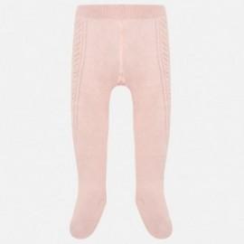 Mayoral 10454-77 Rajstopy dla dziewczynki z falbankami różowe
