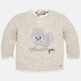 Mayoral 2334-65 Sweter dziewczęcy z wiewiórką beż/brąz