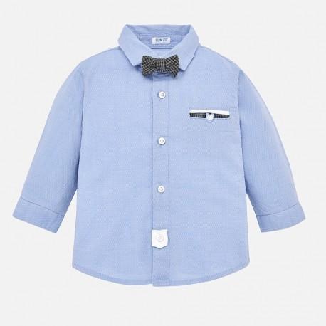 Mayoral 2128-38 Koszula wizytowa z muszką chłopięca błękitna