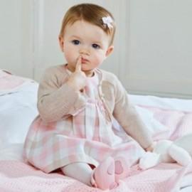 Mayoral 2846-84 Sukienka w kratkę dziewczęca beż/róż