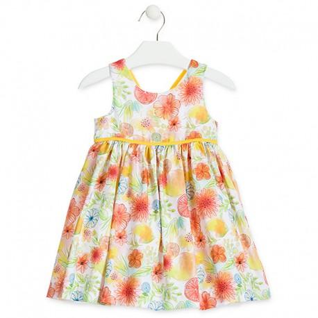 Losan Sukienka dziewczęca w kiaty żółta 916-7783AA-011