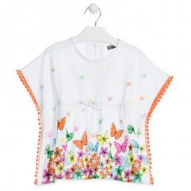 Losan Bluzka dla dziewczynki motyl biała 916-1021AA-001