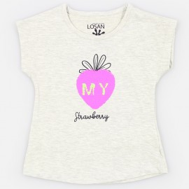 Losan T-shirt na ramiączkach dziewczęcy szary 916-1211AA-582