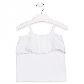 Losan T-Shirt dziewczęcy na ramiączkach biały 916-1014AA-642