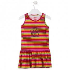 Losan Sukienka dziewczęca w paski bawełniana koral 916-7043AA-509