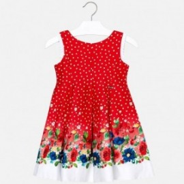 Mayoral 3932-16 Sukienka dla dziewczynki w groszki czerwona
