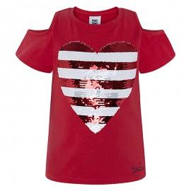 Bluzka dziewczęca z cekinami bawełniana czerwona Tuc Tuc 49775-3