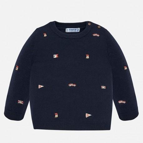 Sweter wkładany przez głowę z haftami dla chłopca Mayoral 2319-96
