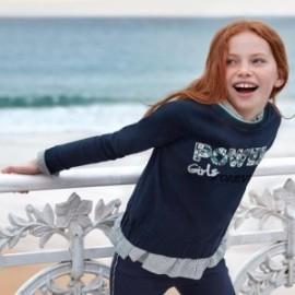 Bluza bawełniana z napisem dziewczęca Mayoral 7404-16