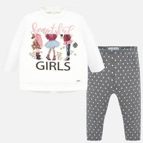 Komplet bluzka i leginsy w groszki dla dziewczynki Mayoral 2747-79