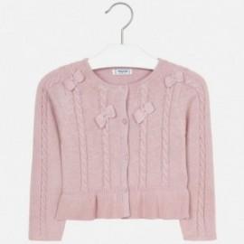 Sweter rozpinany dzianinowy z kokardkami dla dziewczynki Mayoral 4306-26