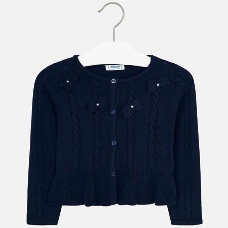 Sweter rozpinany dzianinowy z kokardkami dla dziewczynki Mayoral 4306-28
