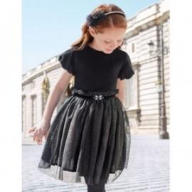 Aksamitna sukienka z tiulem elegancka dziewczęca Abel & Lula 5503-93 Czarny