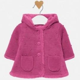 Płaszczyk swetrowy z kapturem dla dziewczynki Mayoral 2304-60 Malina