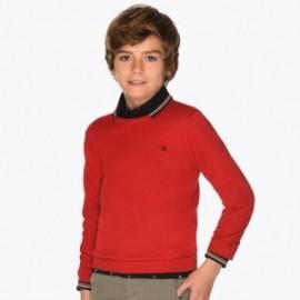 Sweter bawełniany gładki dla chłopca Mayoral 354-40 Czerwony
