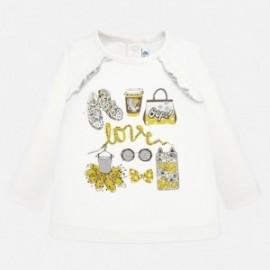 Koszulka z długim rękawem dla dziewczynki Mayoral 2014-50 Kremowy