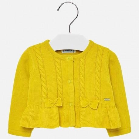 Sweter rozpinany dzianinowy z falbankami dla dziewczynki Mayoral 2316-26 Akacja