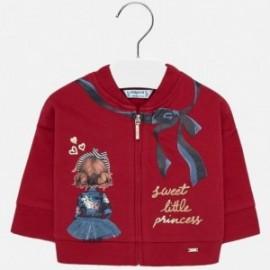 Bluza z nadrukiem na stójce dla dziewczynki Mayoral 2438-78 Szkarłat