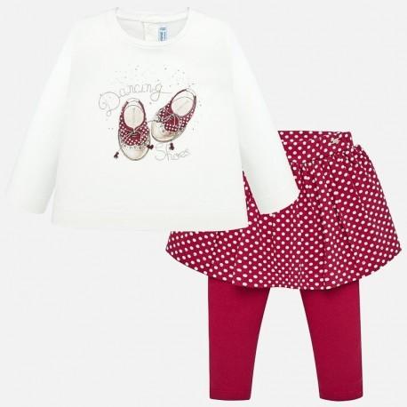 Komplet bluzka i leginsy ze spódnicą dla dziewczynki Mayoral 2748-85 Czerwony