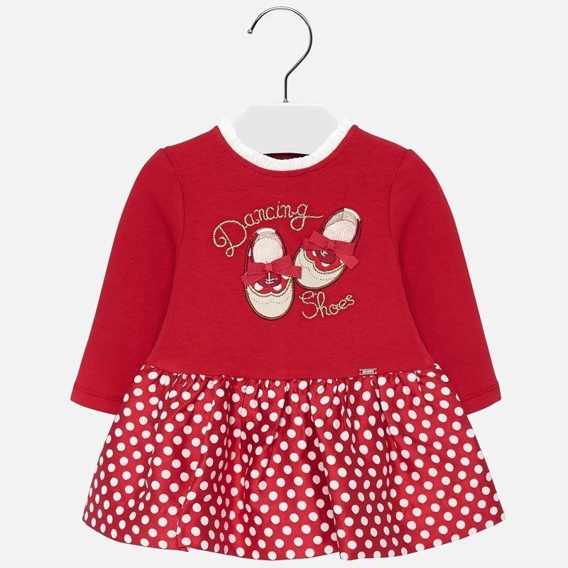 Sukienka codzienna żakardowa dla dziewczynki Mayoral 2919-17 Szkarłat