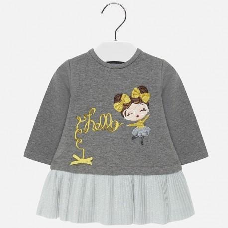 Sukienka dzianinowa z haftem ciepła dla dziewczynki Mayoral 2930-45 Stal