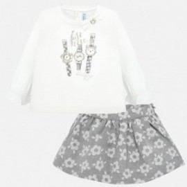 Komplet bluzka i spódnica żakardowa w kwiaty dla dziewczynki Mayoral 2935-28 Srebrny