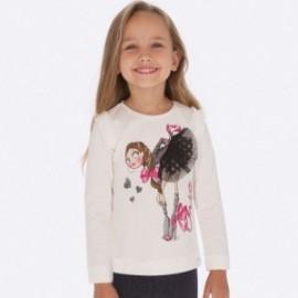 Koszulka z długim rękawem dla dziewczynki Mayoral 4007-71 Krem-fuksja
