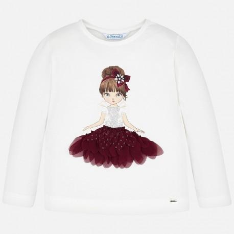 Koszulka z długim rękawem dla dziewczynki Mayoral 4008-44 krem-bordo