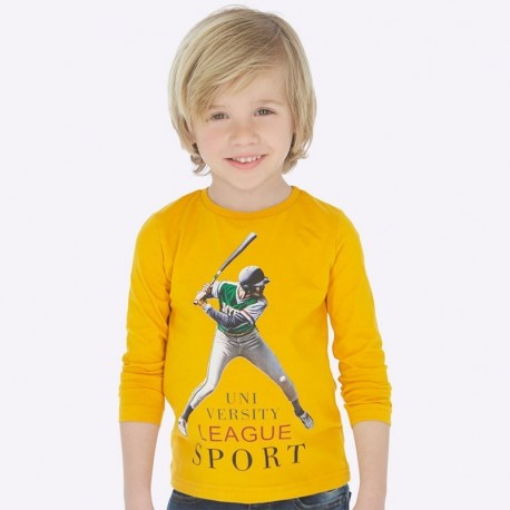 Koszulka z długim rękawem chłopięca Mayoral 4025-52 Karmel