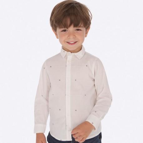Koszula z długim rękawem żakardowa chłopięca Mayoral 4119-18 Biały