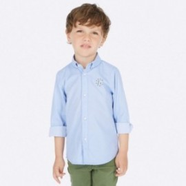 Koszula z długim rękawem z aplikacjami chłopięca Mayoral 4120-82 Błękitny
