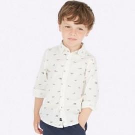 Koszula z długim rękawem we wzory chłopięca Mayoral 4121-63 Biały