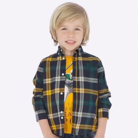 Koszula z długim rękawem w kratkę slim fit chłopięca Mayoral 4122-39 Karmel