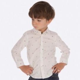 Koszula z długim rękawem we wzory dla chłopca Mayoral 4123-18 Biały