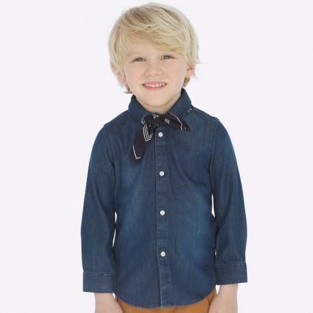 Koszula z długim rękawem denim z chustką dla chłopca Mayoral 4124-52 Ciemny