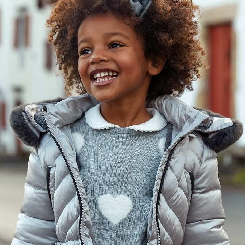 Sweter intarsja z falbanką dla dziewczynki Mayoral 4304-36 Srebrny