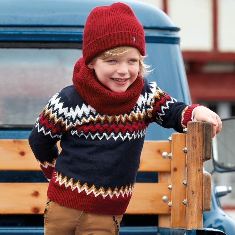 Sweter żakardowy we wzory dla chłopca Mayoral 4313-36 Tytan