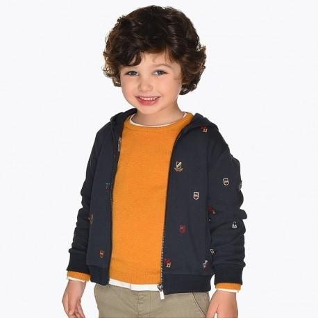 Bluza bawełniana z kapturem z haftami chłopięca Mayoral 4454-32 Tytan
