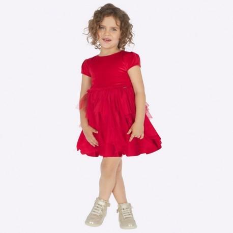 Sukienka łączona z tiulem dla dziewczynki Mayoral 4924-85 Czerwony