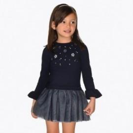 Sukienka łączona z tiulem dla dziewczynki Mayoral 4934-23 Granatowy