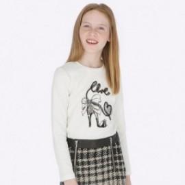 Koszulka z długim rękawem bawełniana dla dziewczynki Mayoral 7004-72 Kremowy