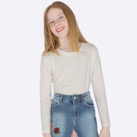 Koszulka z długim rękawem dla dziewczynki Mayoral 7012-36 Kremowy