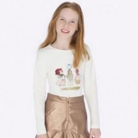 Koszulka z długim rękawem dla dziewczynki Mayoral 7013-83 Kremowy