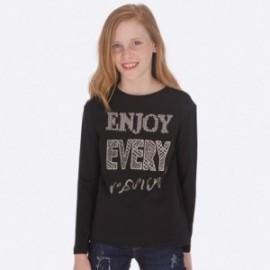 Koszulka z długim rękawem bawełniana dla dziewczynki Mayoral 7017-55 Czarny