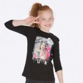 Koszulka z długim rękawem z nadrukiem dla dziewczynki Mayoral 7019-87 Czarny