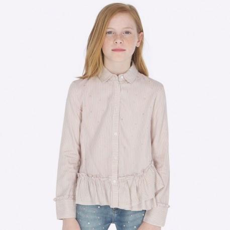Bluzka z kołnierzykiem w paski z połyskiem dziewczęca Mayoral 7107-63 Kwarc