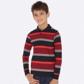 Koszulka polo z długim rękawem w paski chłopięca Mayoral 7110-11 Bordo