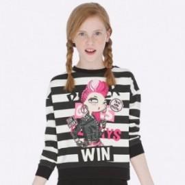 Bluza bawełniana w paski dla dziewczynki Mayoral 7406-75 Czarny