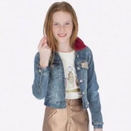 Kurtka jeans z kołnierzem futrzanym dla dziewczynki Mayoral 7411-93 Jasny